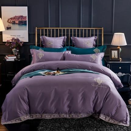 喜洋洋新款100S长绒棉高端轻奢赛利娅四件套维斯之恋-紫灰