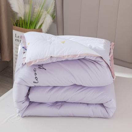 心悦家纺 2020新款AB版全棉刺绣暖冬被 花开季节-丁香紫
