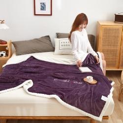 (总)穆琪 2020绣花款贝贝绒+法莱绒双层加厚盖毯被套毯子