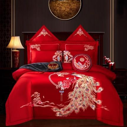 甜咪咪 2020新款全棉大红婚庆系列多件套床盖款 美满良缘