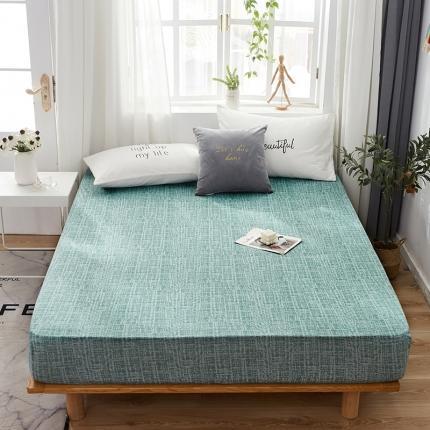 芭比蔓 2020新款针织牛奶丝弹力单床笠 肌理纹-水绿