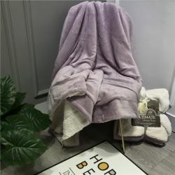 萌宝 2020新款ins双层羊羔绒盖毯珊瑚绒休闲毯子 优雅紫