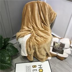 萌宝 2020新款ins双层羊羔绒盖毯珊瑚绒休闲毯子 尊贵黄