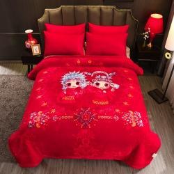 (总)丹兰拉舍尔毛毯大红婚庆天丝毯加厚结婚云毯法兰绒