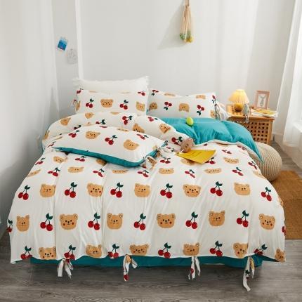 眠屿 2020新款针织棉四件套 可爱熊-白