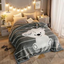 丹兰家纺 双层加厚拉舍尔毛毯冬季保暖毛毯被 乖小熊