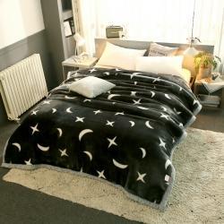 丹兰家纺 双层加厚拉舍尔毛毯冬季保暖毛毯被 星空