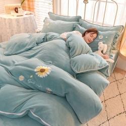 (总)狂想家 2021新款加厚保暖绣花牛奶绒四件套-晚安-法莱绒水晶绒贝贝绒