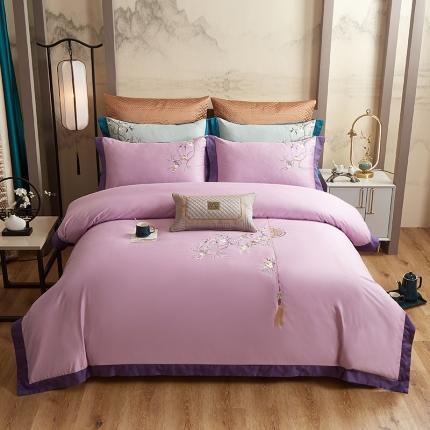 平头哥 2020新款60长绒棉中式四件套 如花似锦--紫