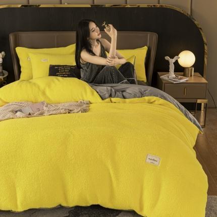 意尚风情 2020新款羊羔绒水晶绒四件套 柠檬黄