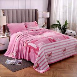 赋雅家纺 双面绒毯子超柔加厚云貂绒毛毯法莱绒毛毯 床单盖毯 粉红豹