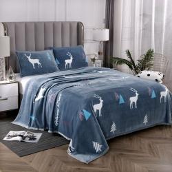 赋雅家纺 双面绒毯子超柔加厚云貂绒毛毯法莱绒毛毯 床单盖毯 福鹿