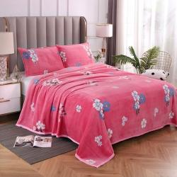 赋雅家纺 双面绒毯子超柔加厚云貂绒毛毯法莱绒毛毯 床单盖毯 花季 粉