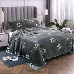 赋雅家纺 双面绒毯子超柔加厚云貂绒毛毯法莱绒毛毯 床单盖毯 皇冠