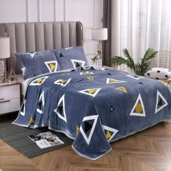 赋雅家纺 双面绒毯子超柔加厚云貂绒毛毯法莱绒毛毯 床单盖毯 简约三角