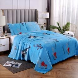 赋雅家纺 双面绒毯子超柔加厚云貂绒毛毯法莱绒毛毯 床单盖毯 鲸鱼