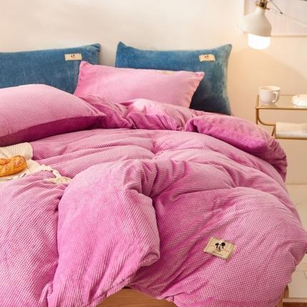 鑫艺阳光魔法绒水晶绒法莱绒金貂绒宝宝绒牛奶绒贝贝绒四件套亮紫