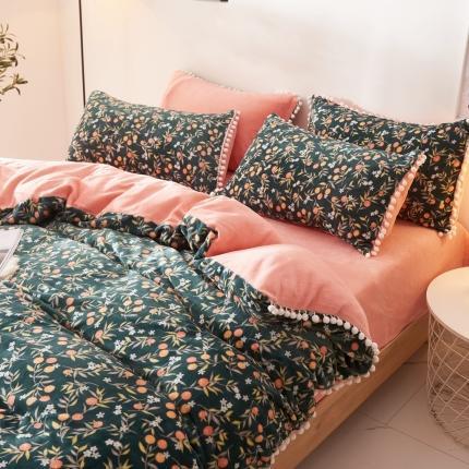 鑫艺阳光 法莱绒水晶绒宝宝绒牛奶绒毛球款四件套 樱桃花朵-绿