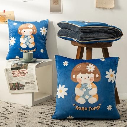 暖树 2020新款荷兰绒抱枕毯抱枕被 糖果少女