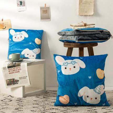 暖树 2020新款荷兰绒抱枕毯抱枕被 兔萝莉