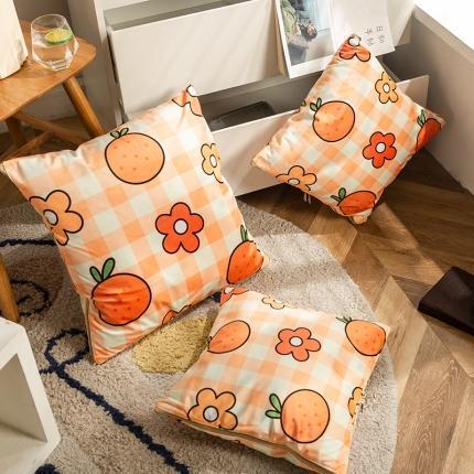 暖树 2020新款荷兰绒抱枕毯抱枕被 阳光橙