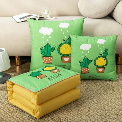 暖树家居 2020新款数码印花抱枕被叠拍图 仙人掌