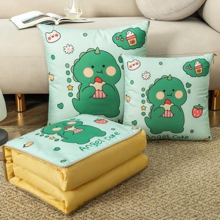 暖树家居 2020新款数码印花抱枕被叠拍图 小恐龙