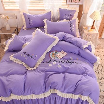 九诺家纺2021新款小清新韩版绣花床裙四件套 小雏菊紫色
