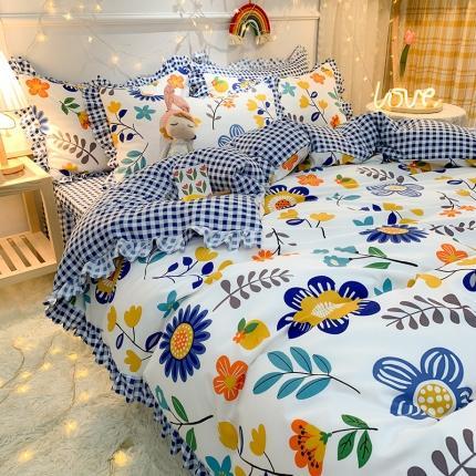 (总)九诺家纺 2021爆款韩版磨毛小清新床裙床单四件套