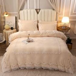 (总)雪夫人新款蕾丝款水晶绒压花床盖款四件套牛奶绒宝宝绒