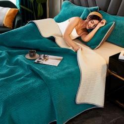 暖暖家纺 2020新款乳胶牛奶绒纯色绗绣床盖毛毯地垫床单床罩
