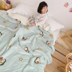 川悦生活2020新款羊羔绒毯子卡通亲肤牛奶绒毛毯星星牛油果