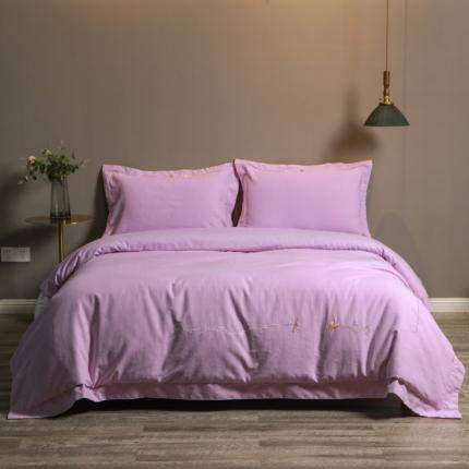 晨光旋曲 2020新款全棉活性磨毛肌理纹绣花 迷迭香-紫