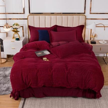 安朵 2020新款丽丝绒四件套 丽丝绒-红色