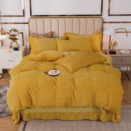 安朵 2020新款丽丝绒四件套 丽丝绒-黄色