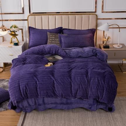 安朵 2020新款丽丝绒四件套 丽丝绒-紫色