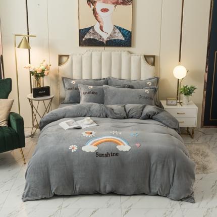 安朵 2020新款毛巾绣牛奶绒彩虹系列四件套 彩虹-高级灰