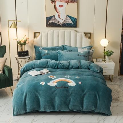 安朵 2020新款毛巾绣牛奶绒彩虹系列四件套 彩虹-海洋蓝