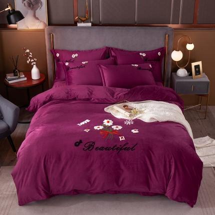 安朵 2020新款毛巾绣水晶绒墨菊系列四件套 墨菊-深紫