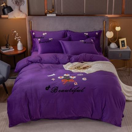 安朵 2020新款毛巾绣水晶绒墨菊系列四件套 墨菊-紫色