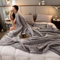 炣炣 2020新款拉舍尔经编毛毯休闲毯盖毯毯子 纯灰