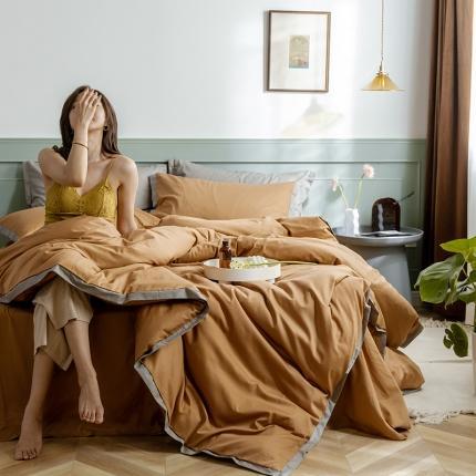 寐眠 2020新款40s长绒棉纯色四件套 奶茶棕