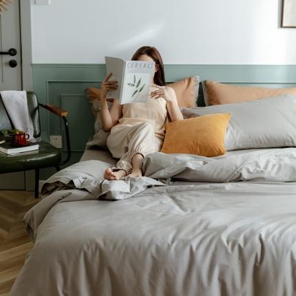 寐眠 2020新款40s长绒棉纯色四件套 月光灰