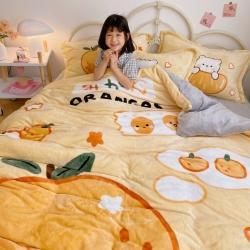 川悦生活 2020新款法莱绒大版卡通四件套 元气橘味