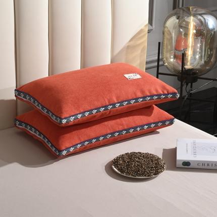 九诺家纺 2021新款枕芯麻绒全荞麦枕头 麻绒-橘黄