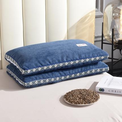 九诺家纺 2021新款枕芯麻绒全荞麦枕头 麻绒-深蓝