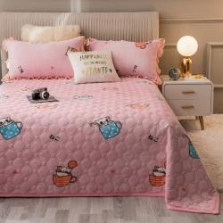 (总)奥利给2020新款夹棉法莱绒盖毯毛毯床单床盖