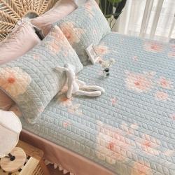 2020新款牛奶绒乳胶床垫床盖三件套珊瑚绒法莱绒保暖床褥垫子