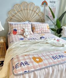 2020新款牛奶绒乳胶床垫床盖三件套珊瑚绒法莱绒保暖床褥垫子 草莓熊
