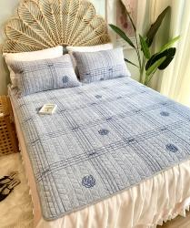 2020新款牛奶绒乳胶床垫床盖三件套珊瑚绒法莱绒保暖床褥垫子 香奈灰